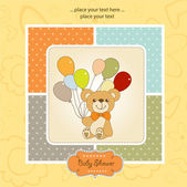 New baby announcement card with teddy bear and balloons — Stock Photo