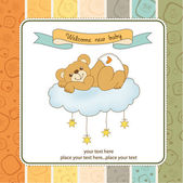New baby shower card with spoiled teddy bear — Stock Photo