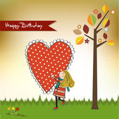 Happy birthday card with a girl — Stock Photo