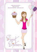Sweet Sixteen Birthday card with young girl — Stock Photo