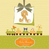 Tarjeta de ducha de bebé con juguete cachorro — Foto de Stock