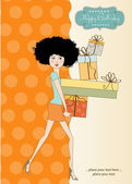 Birthday card - pretty young lady with arms full of gifts — Stockfoto