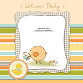 New baby announcement card with chicken — Stock Photo