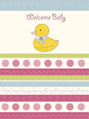 Baby shower announcement card with duck — Stock Photo