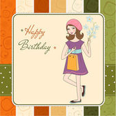 Pretty girl with gift and flowers. birthday card — Stock Photo