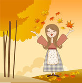 Otoño chica con manzanas y calabazas — Foto de Stock