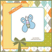 New baby announcement card with butterfly — Stock Photo