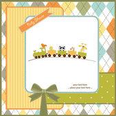 Baby shower invitation with animal train — Stock Photo
