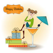 Attractive young girl sitting on the edge of a glass. Glamorous birthday ca — Stock Photo