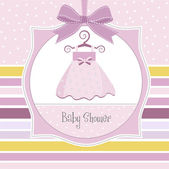 Baby shower invitation with dress — Stock Photo