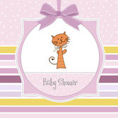 Baby shower invitation with cat — Stock Photo