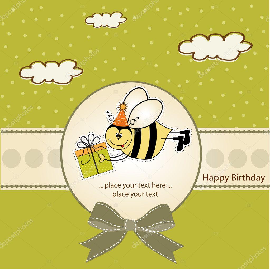 与蜜蜂生日贺卡 - 图库图片
