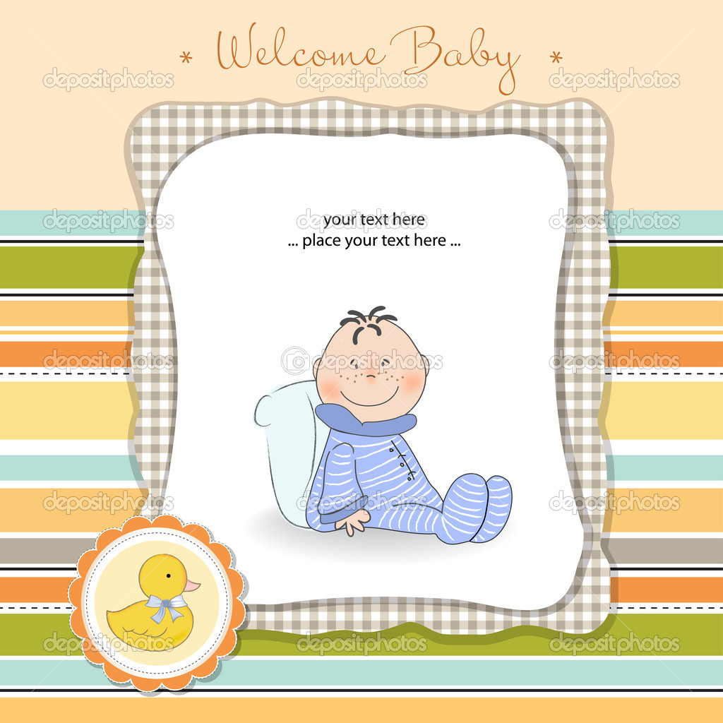 Greeting Card With Baby Boy Stock Photo Balasoiu Claudia