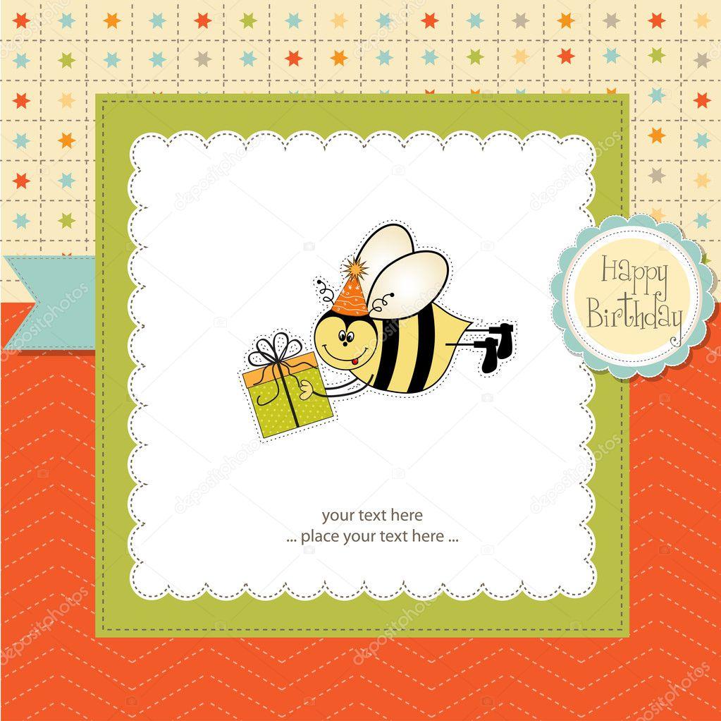 与蜜蜂生日贺卡