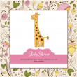 Baby shower invitation with giraffe - Stock Photo
