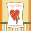Stock Photo: Happy birthday card with a girl