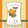 Happy Birthday card with girl and cupcake — Stock Photo #7319714