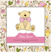 Baby shower invitationb with teddy bear — Stock Photo