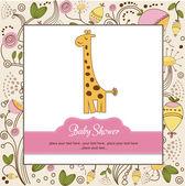 Baby shower invitation with giraffe — Stock Photo