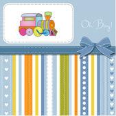 Baby shower invitation with train — Photo