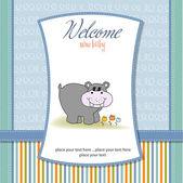 Baby shower inbjudan med flodhäst — Stockfoto