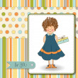 Stok fotoğraf: Curly young girl she hide gift