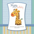 Birthday card with giraffe — Stock Photo