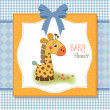 Baby shower card with giraffe — Stock Photo