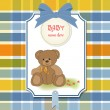 New baby announcement card with teddy bear — Stock Photo #7828677