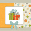 Birthday card with gift box — Stock Photo
