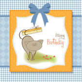 Happy birthday card with cute cat — Stock Photo