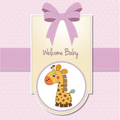 Baby girl welcome card with giraffe — Stock Photo