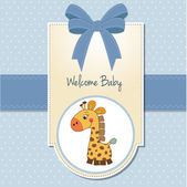 Baby boy welcome card with giraffe — Stock Photo