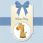 Chłopiec dziecko zapraszamy karty z żyrafa — Zdjęcie stockowe