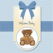 Baby boy welcome card with teddy bear — Zdjęcie stockowe