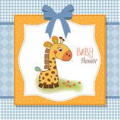 Baby shower card with giraffe — Stock Photo