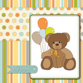 Welcome baby card with teddy bear — Stock Photo