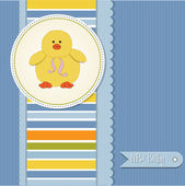 New baby boy announcement card with duck — Stock Photo