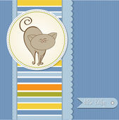 New baby boy announcement card with cat — Stock Photo