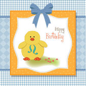 Birthday card with little duck — Stock Photo