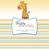 Birthday card with giraffe — Stock Photo
