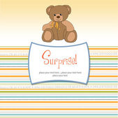 Surprised greeting card with teddy bear — Stock Photo