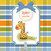 Shower card with giraffe toy — Stock Photo