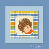 Greeting card with curly girl — Stock Photo