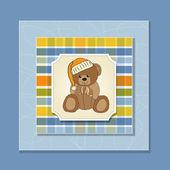 Baby greeting card with sleepy teddy bear — Stock Photo