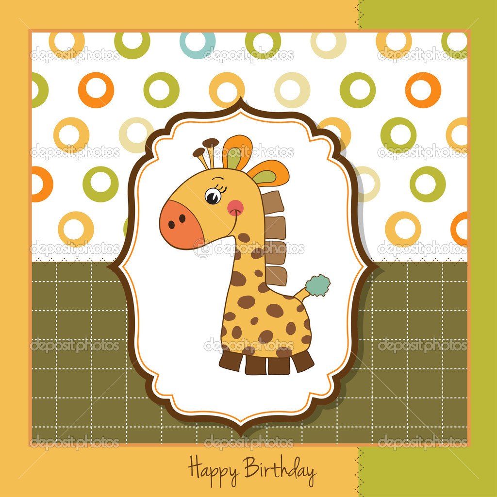 Birthday card with giraffe  Stock Photo #7827472