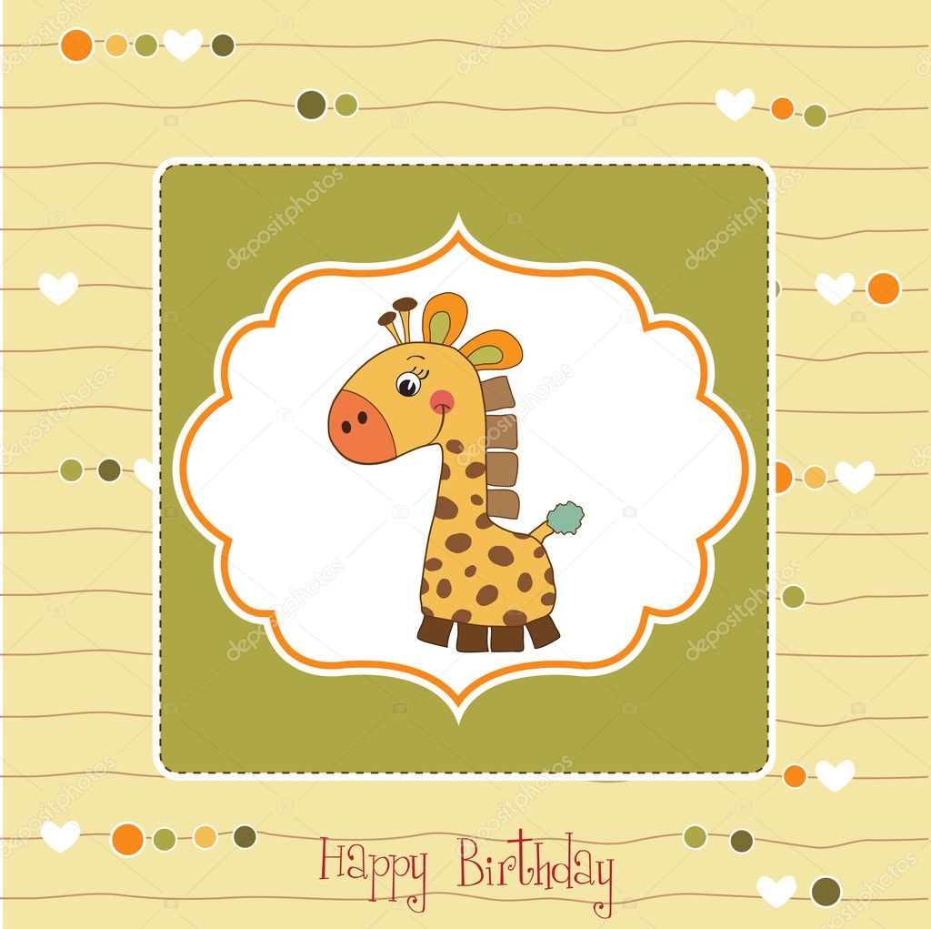 Birthday card with giraffe — Stock Photo #7827489
