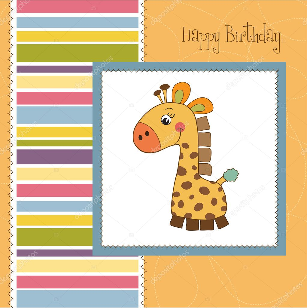 Birthday card with giraffe  Stock Photo #7827531
