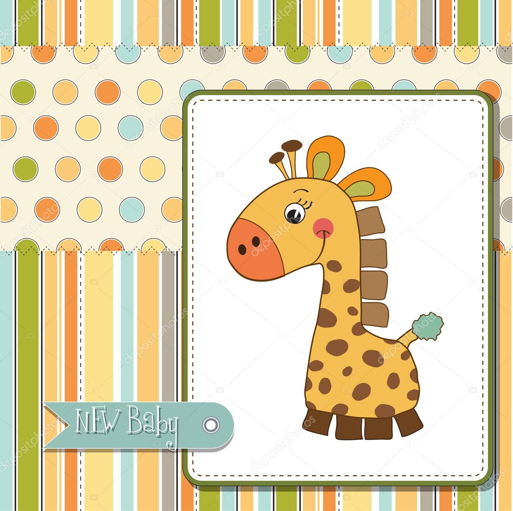 Tarjeta de la ducha de bebé con jirafa — Foto de stock