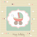 Baby card with pram — Stock Photo